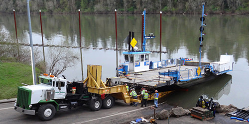 Omega Morgan moving the Canby Ferry