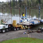 Moving Canby Ferry out of the water for annual inspection