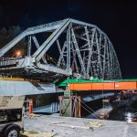 Sliding Puyallup River Bridge using heavy skid system