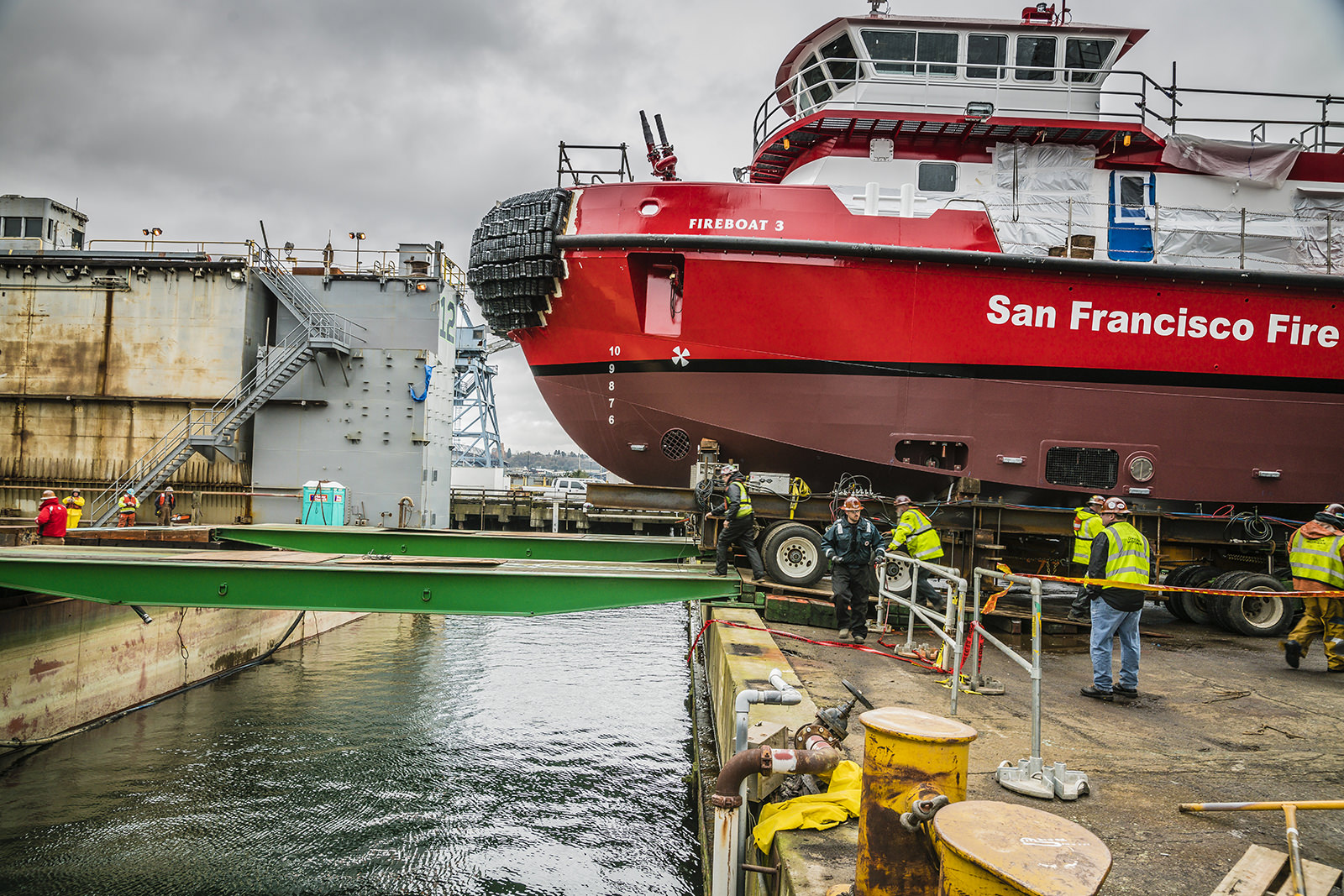 Rolling 200 ton fire boat on to a dry dock